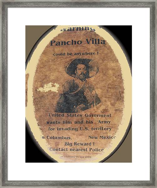 Wanted Poster For Pancho Villa After Columbus New Mexico Raid  Framed Print