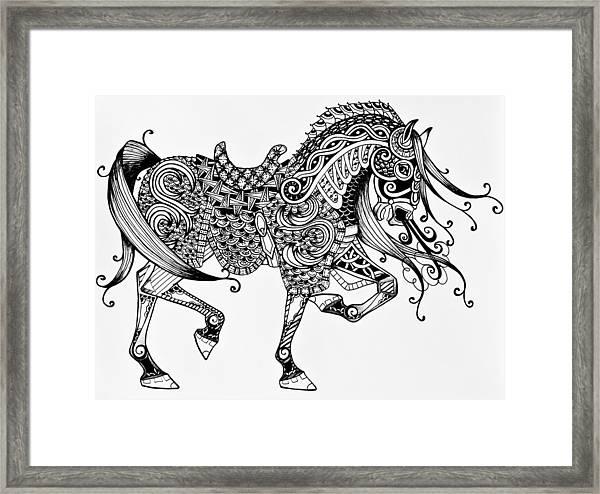 War Horse - Zentangle Framed Print