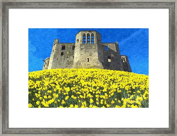 Warkworth Castle Daffodils Photo Art Framed Print