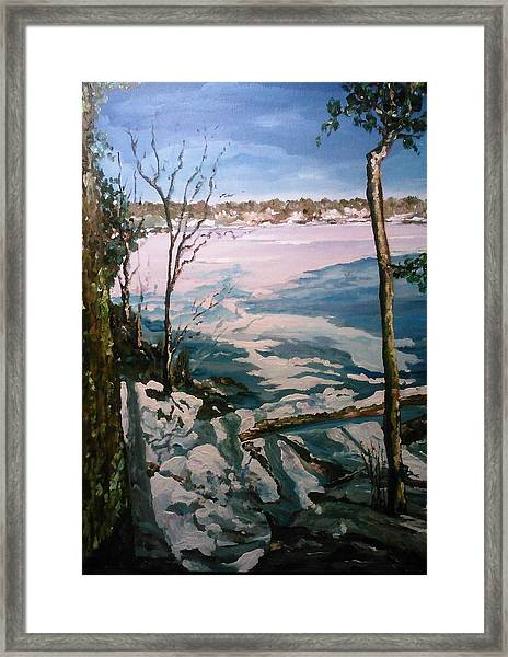 Framed Print featuring the painting Warm Snow In The Sassaquin Pond-neighborhood by Ray Khalife