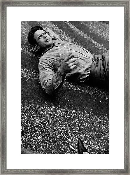 Warren Beatty Lying On The Ground Framed Print