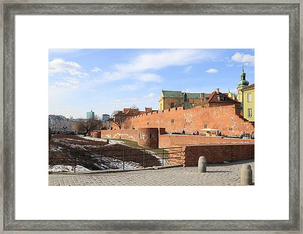 Warsaw Old Town Wall And Castle Framed Print by Pejft