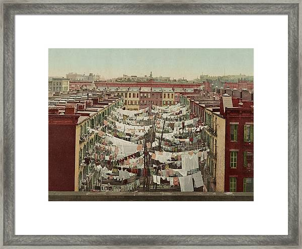 Washing Day In New York Framed Print