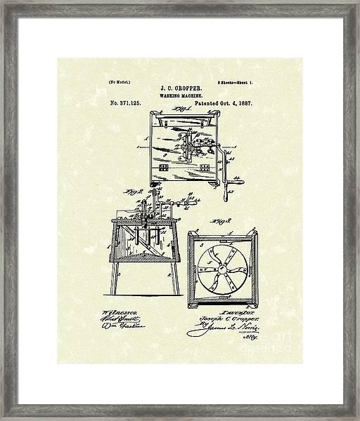 Washing Machine 1887 Patent Art Framed Print