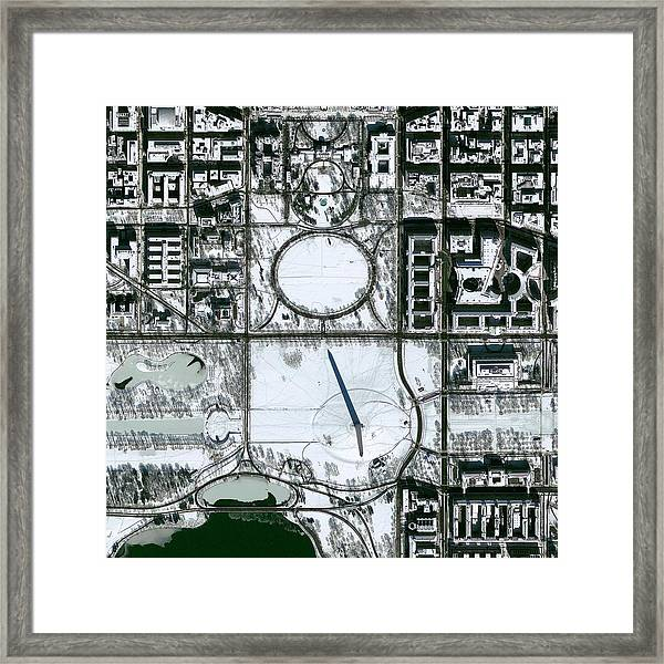 Washington Dc In Snow Framed Print by Geoeye/science Photo Library