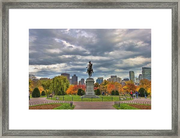 Washington In The Public Garden Framed Print