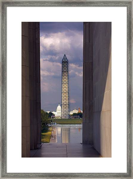 Washington Monument And Capitol 2 Framed Print
