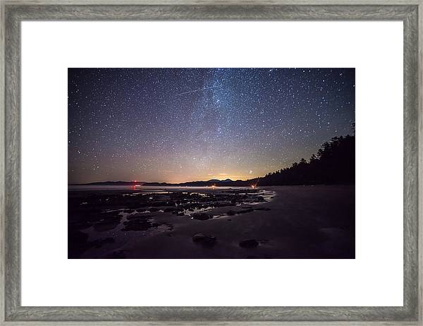 Washington Olympic Night Sky Meteor Framed Print