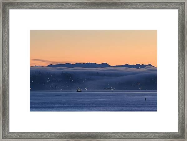Washington State Ferries At Dawn Framed Print