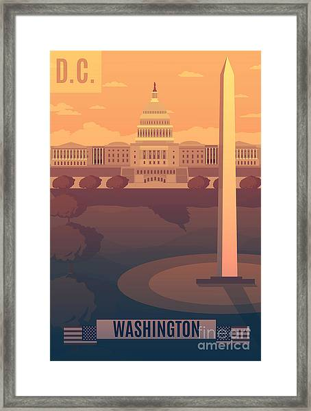 Washington Vector Landescape.washington Framed Print