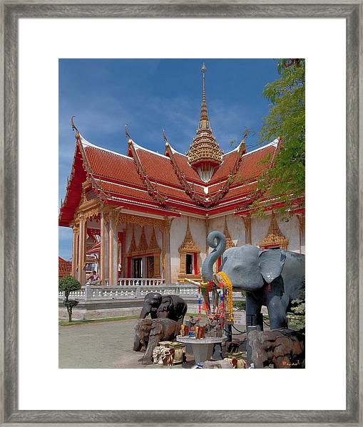Wat Chalong Wiharn And Elephant Tribute Dthp045 Framed Print