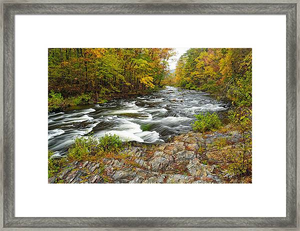 Watching It All Go By  At Beaver's Bend Broken Bow Fall  Foliage Oklahoma Framed Print