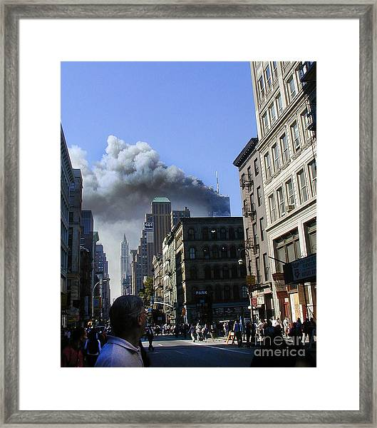 Watching North Tower Burning Framed Print