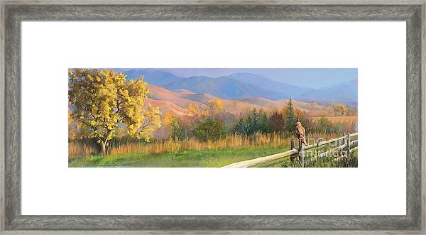 Watching The Field  Framed Print