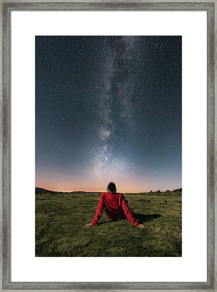 Watching The Milky Way Framed Print