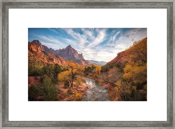 Watchman Sunset Framed Print by Michael Zheng