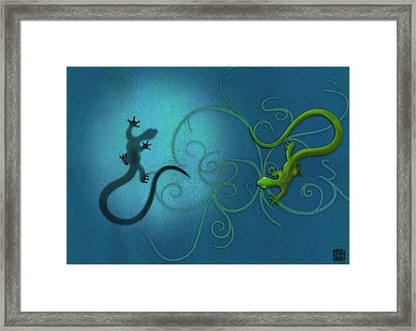 water colour print of twin geckos and swirls Duality Framed Print