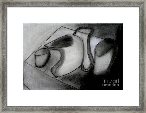 Water Pitcher And Cups Framed Print