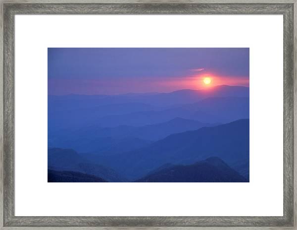 Water Rock Knob Sunset Framed Print