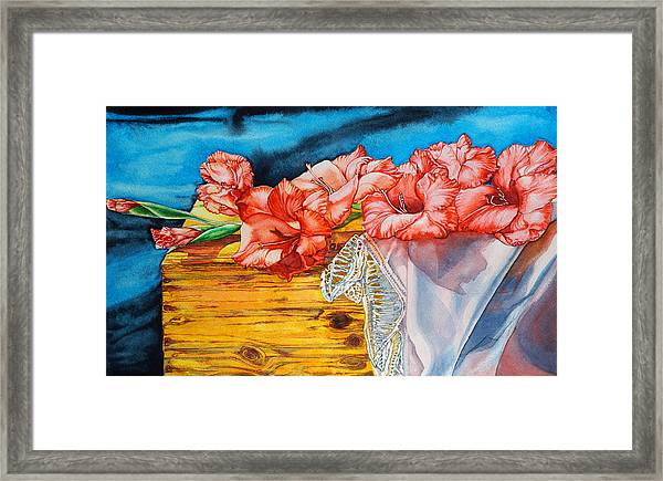 Watercolor Exercise Gladiolas Framed Print