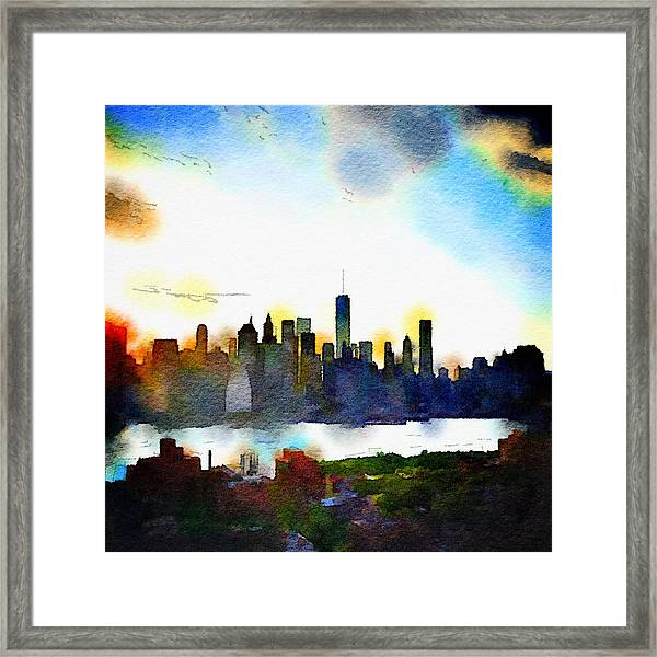 Watercolor Manhattan Framed Print