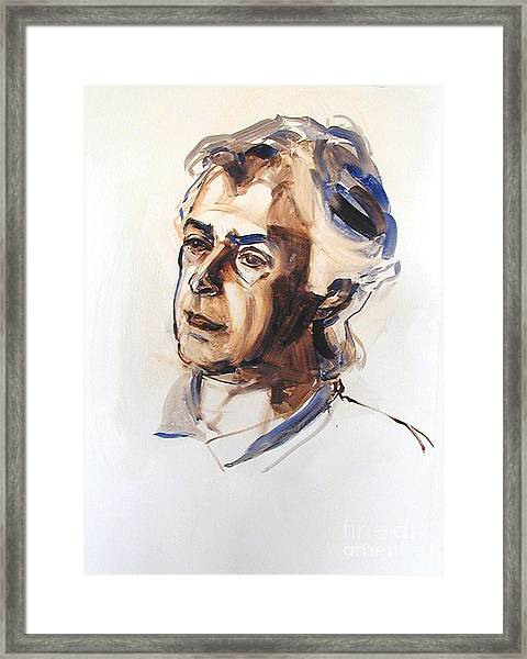 Watercolor Portrait Sketch Of A Man In Monochrome Framed Print
