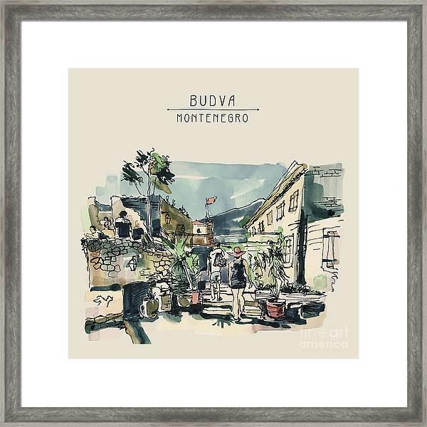 Watercolor Sketching Of Budva Framed Print
