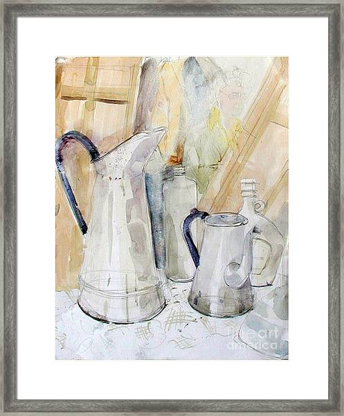 Watercolor Still Life Of White Cans Framed Print