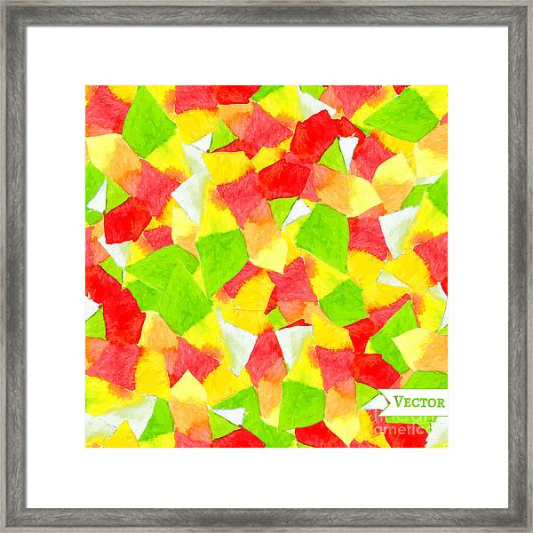 Watercolor Vector Seamless Pattern With Framed Print