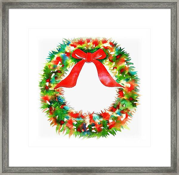 Watercolor Wreath Framed Print