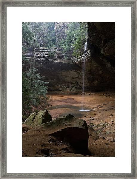 Waterfall At Ash Cave Framed Print