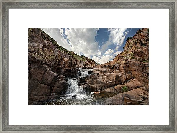 Waterfall At Forty Foot Hole In The Wichita Mountains Framed Print