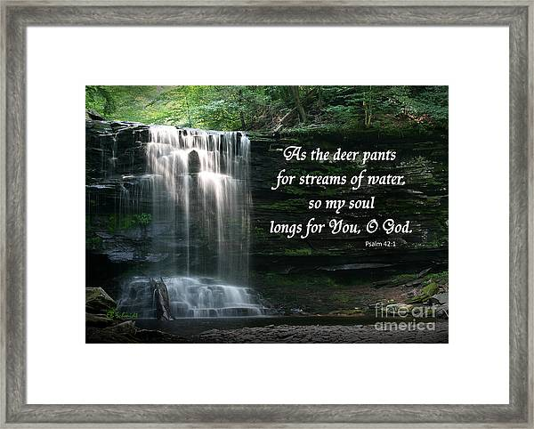 Waterfall At Ricketts Glen - Psalm 42 Framed Print