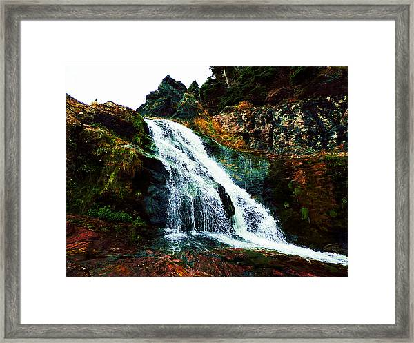 Waterfall By Stiles Cove Path Framed Print
