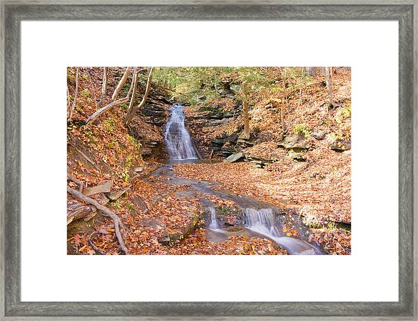 Waterfall In The Fall Framed Print