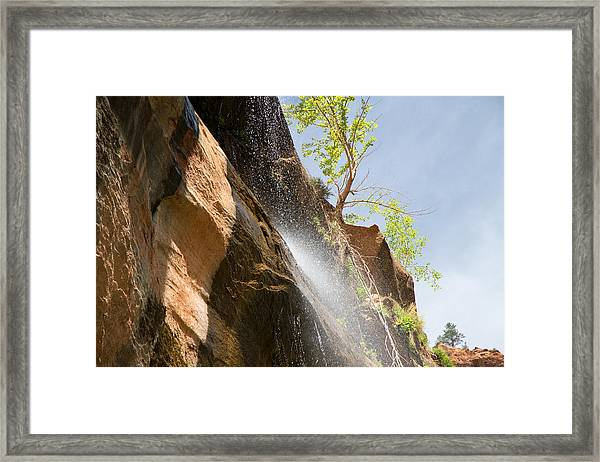 Waterfall Zion National Park Framed Print