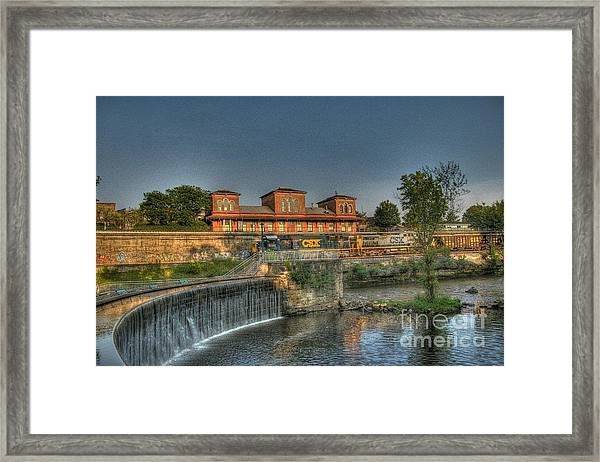 Waterfalls And Train Framed Print