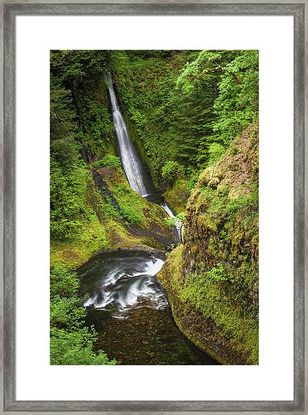 Waterfalls Plunging Through Green Framed Print