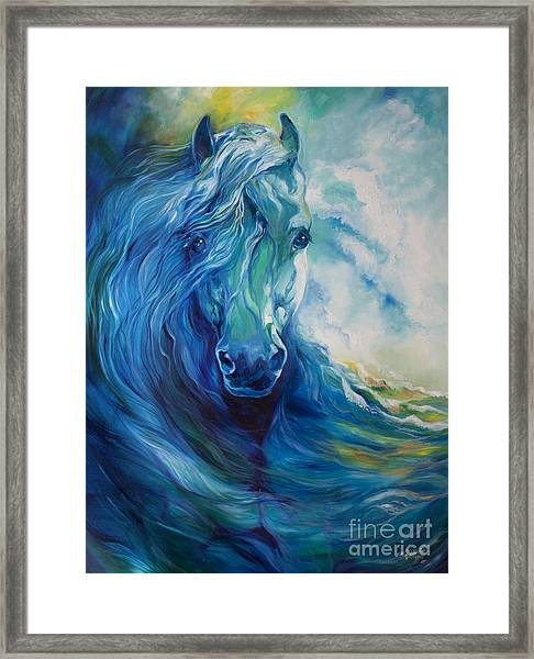 Wave Runner Blue Ghost Equine Framed Print by Marcia Baldwin