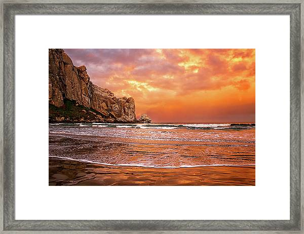 Waves Breaking On Beach At Sunrise Framed Print by Alice Cahill