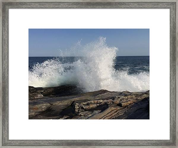 Waves Crashing On Rocky Maine Coast Framed Print