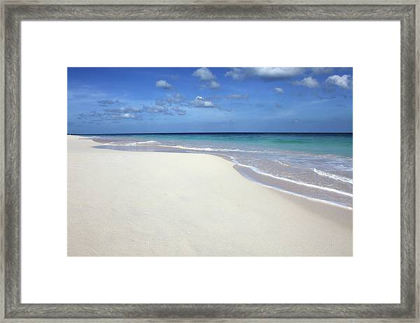 Waves Washing On Tropical Beach Framed Print