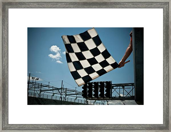 Waving Checkered Flag Framed Print by Stevedangers