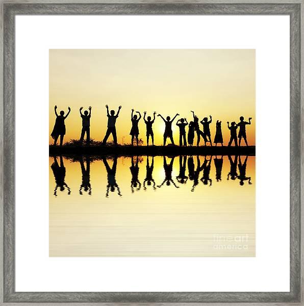 Waving Children Framed Print