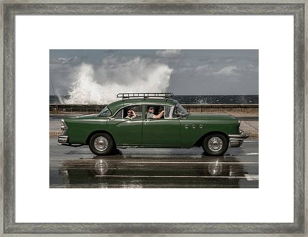 Waving Malecon Framed Print by Andreas Bauer