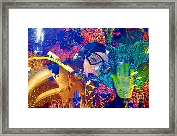 Waving Scuba Diver At Scheels Framed Print