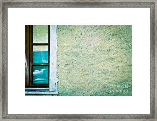 Wavy Wall With Window Framed Print