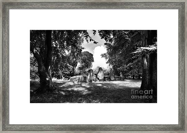 Wayland's Smithy Monochrome Framed Print by Tim Gainey