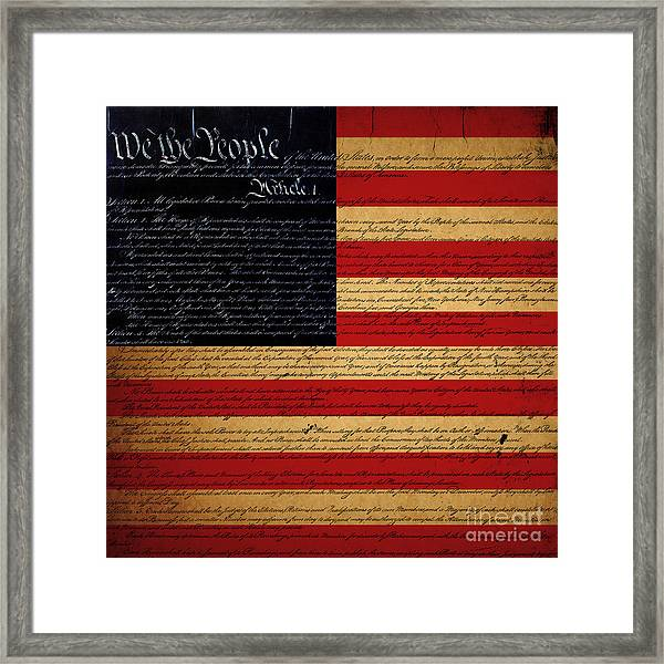 Framed Print featuring the photograph We The People - The Us Constitution With Flag - Square by Wingsdomain Art and Photography