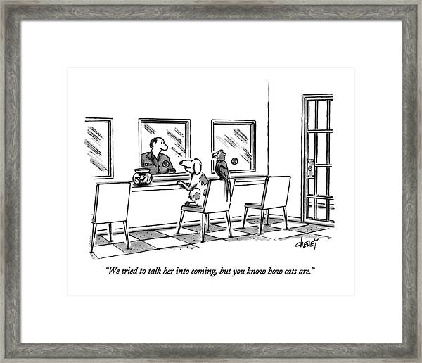 We Tried To Talk Her Into Coming Framed Print